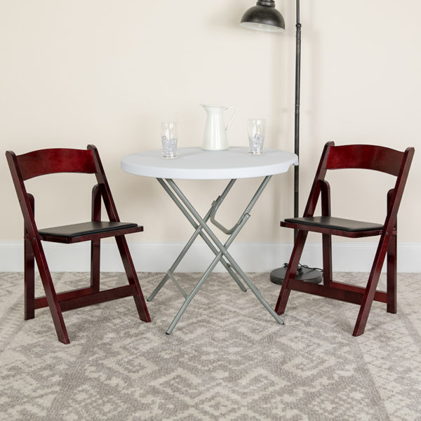 Lowest Price HERCULES Series Mahogany Wood Folding Chair with Vinyl Padded Seat