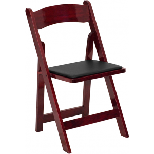 Wholesale HERCULES Series Mahogany Wood Folding Chair with Vinyl Padded Seat