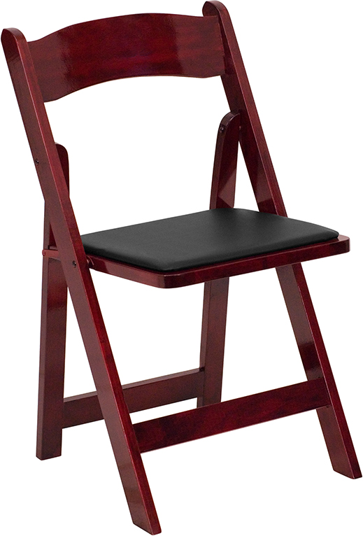 Wholesale HERCULES Series Mahogany Wood Folding Chair with Vinyl Padded Seat
