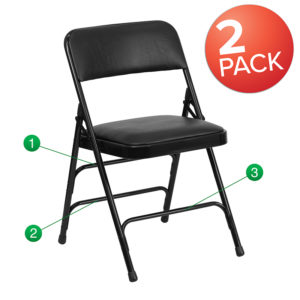Wholesale HERCULES Series Metal Folding Chairs with Padded Seats | Set of 2 Black Metal Folding Chairs
