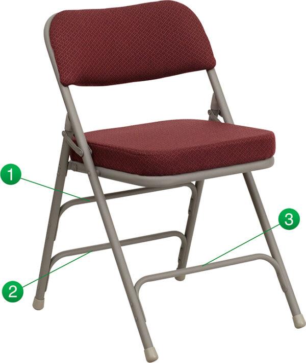 Wholesale HERCULES Series Premium Curved Triple Braced & Double Hinged Burgundy Fabric Metal Folding Chair