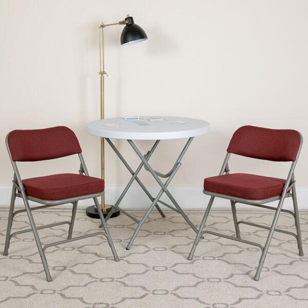 Lowest Price HERCULES Series Premium Curved Triple Braced & Double Hinged Burgundy Fabric Metal Folding Chair