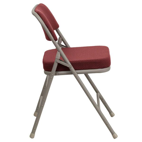 Padded Metal Folding Chair Burgundy Fabric Folding Chair