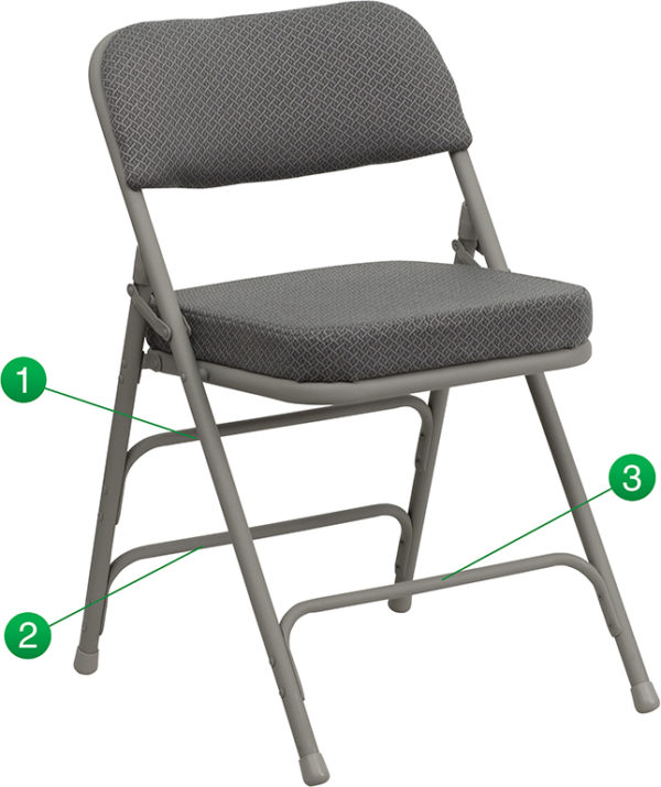 Wholesale HERCULES Series Premium Curved Triple Braced & Double Hinged Gray Fabric Metal Folding Chair