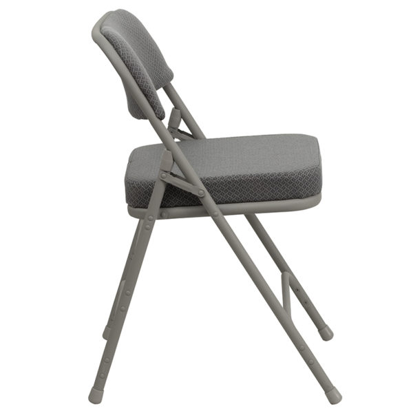 Padded Metal Folding Chair Gray Fabric Folding Chair