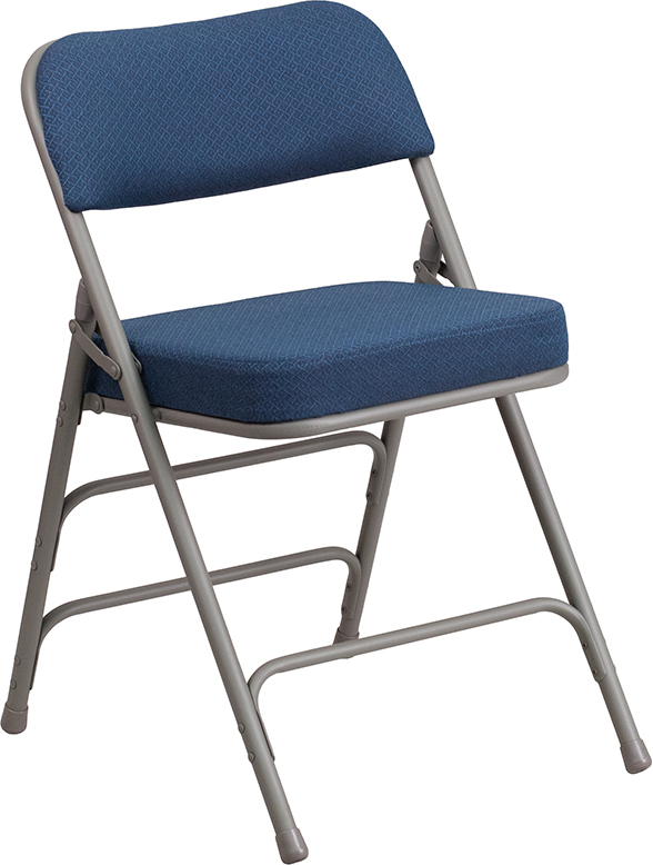 Wholesale HERCULES Series Premium Curved Triple Braced & Double Hinged Navy Fabric Metal Folding Chair