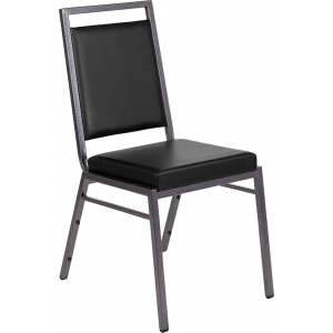 Wholesale HERCULES Series Square Back Stacking Banquet Chair in Black Vinyl with Silvervein Frame