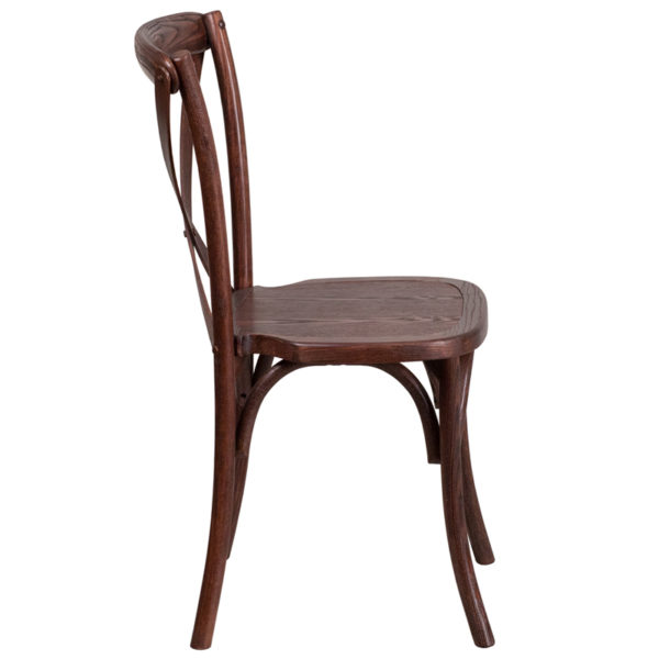 Lowest Price HERCULES Series Stackable Mahogany Wood Cross Back Chair