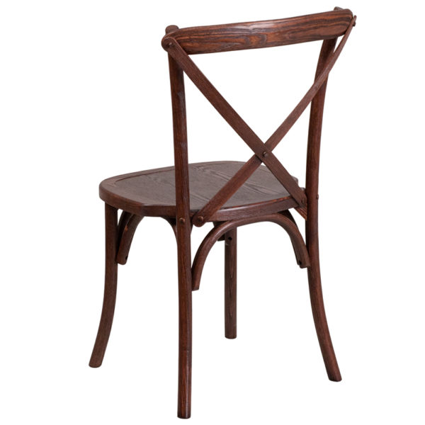Stackable Bistro Style Chair Mahogany Cross Back Chair