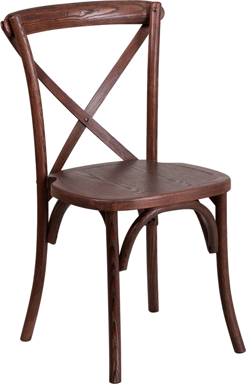 Wholesale HERCULES Series Stackable Mahogany Wood Cross Back Chair