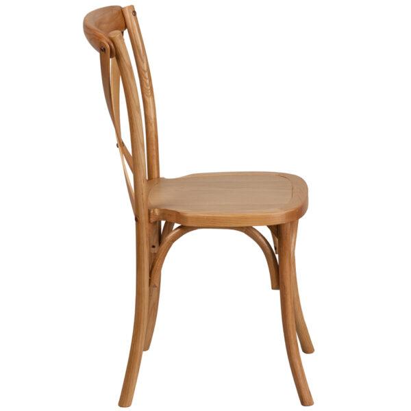 Lowest Price HERCULES Series Stackable Oak Wood Cross Back Chair