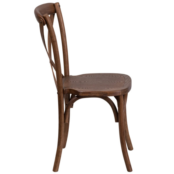 Lowest Price HERCULES Series Stackable Pecan Wood Cross Back Chair