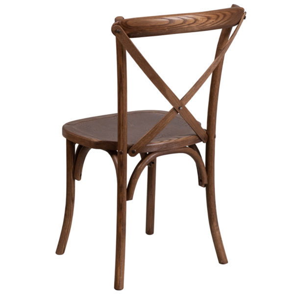 Stackable Bistro Style Chair Pecan Cross Back Chair
