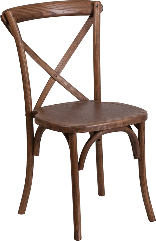 Wholesale HERCULES Series Stackable Pecan Wood Cross Back Chair