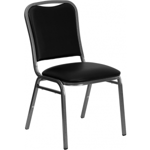Wholesale HERCULES Series Stacking Banquet Chair in Black Vinyl - Silver Vein Frame