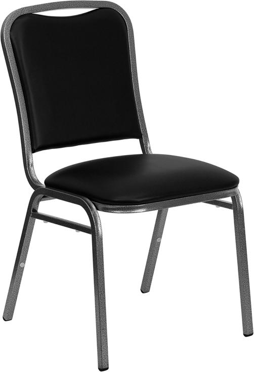 Wholesale HERCULES Series Stacking Banquet Chair in Black Vinyl - Silver Vein Frame