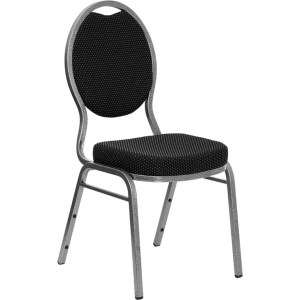 Wholesale HERCULES Series Teardrop Back Stacking Banquet Chair in Black Patterned Fabric - Silver Vein Frame