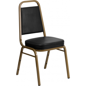 Wholesale HERCULES Series Trapezoidal Back Stacking Banquet Chair in Black Vinyl - Gold Frame