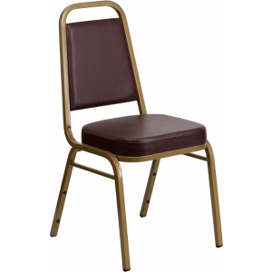 Wholesale HERCULES Series Trapezoidal Back Stacking Banquet Chair in Brown Vinyl - Gold Frame