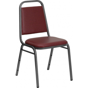 Wholesale HERCULES Series Trapezoidal Back Stacking Banquet Chair in Burgundy Vinyl - Silver Vein Frame