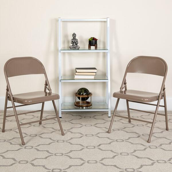 Lowest Price HERCULES Series Triple Braced & Double Hinged Beige Metal Folding Chair