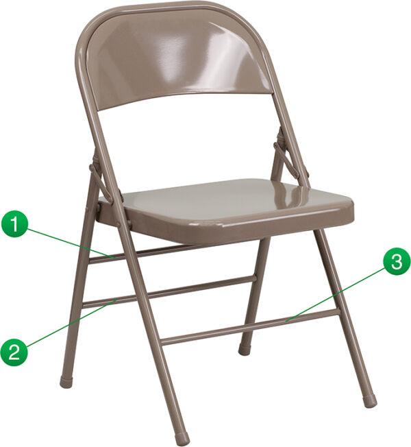 Wholesale HERCULES Series Triple Braced & Double Hinged Beige Metal Folding Chair