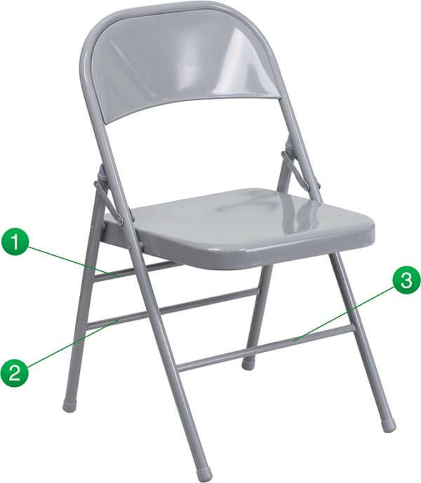 Wholesale HERCULES Series Triple Braced & Double Hinged Gray Metal Folding Chair