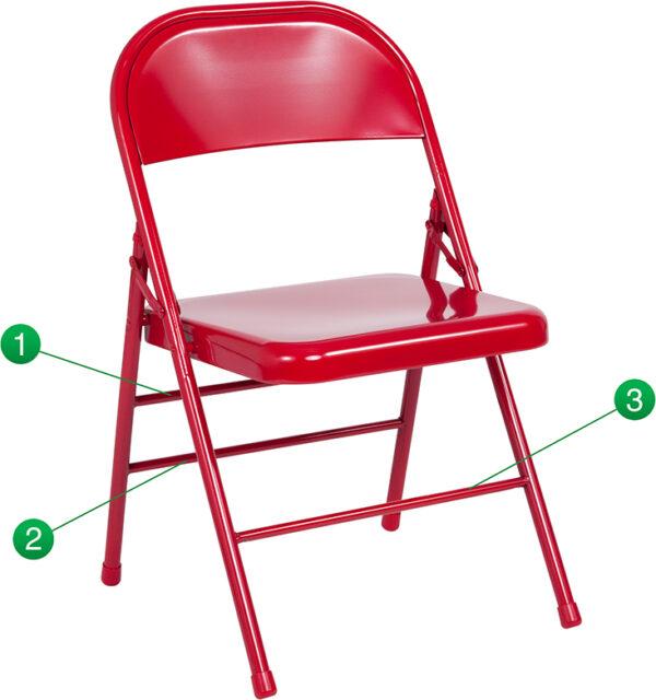 Wholesale HERCULES Series Triple Braced & Double Hinged Red Metal Folding Chair