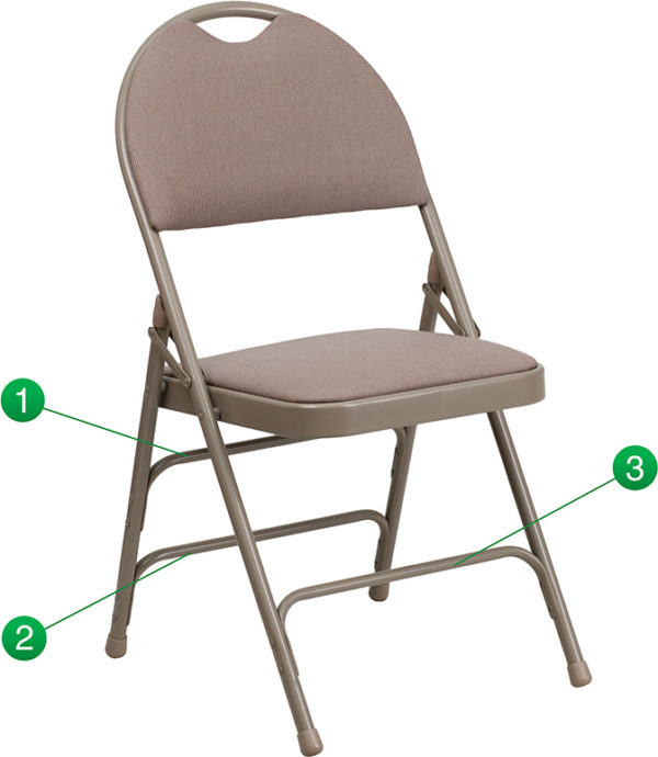 Wholesale HERCULES Series Ultra-Premium Triple Braced Beige Fabric Metal Folding Chair with Easy-Carry Handle