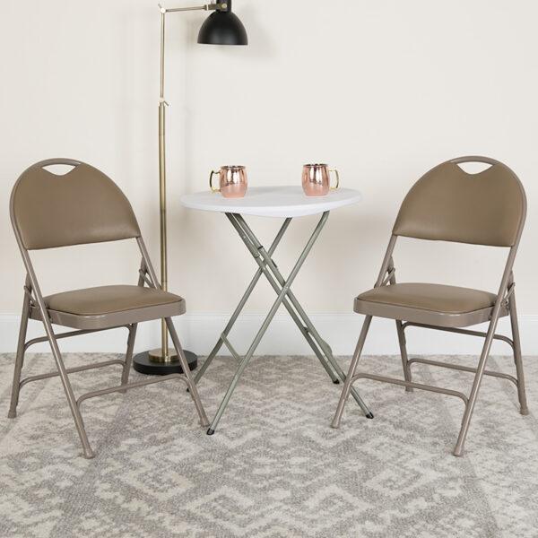 Lowest Price HERCULES Series Ultra-Premium Triple Braced Beige Vinyl Metal Folding Chair with Easy-Carry Handle