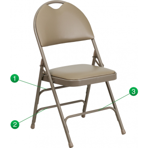 Wholesale HERCULES Series Ultra-Premium Triple Braced Beige Vinyl Metal Folding Chair with Easy-Carry Handle