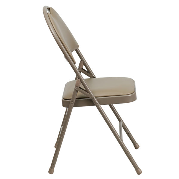 Padded Metal Folding Chair - Carrying Handle Cutout Beige Vinyl Folding Chair