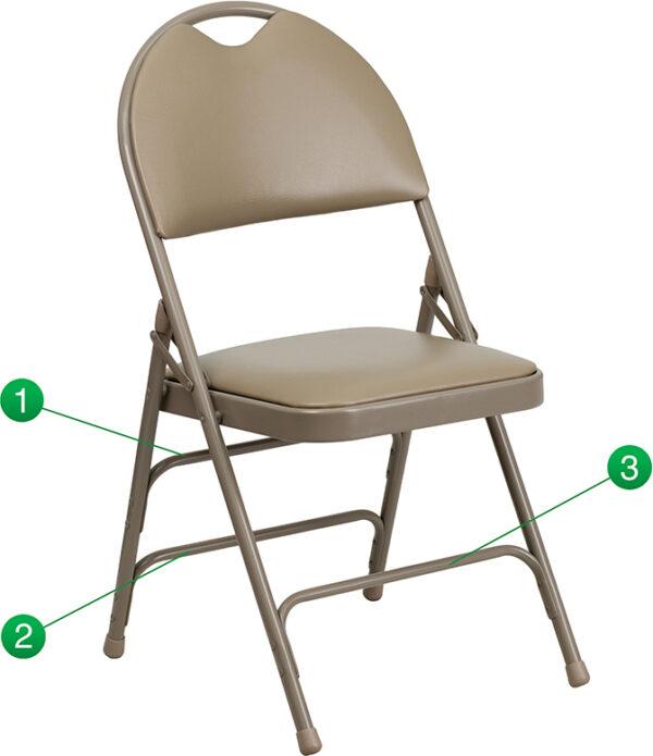 Wholesale HERCULES Series Ultra-Premium Triple Braced Beige Vinyl Metal Folding Chair with Easy-Carry Handle