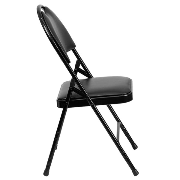 Padded Metal Folding Chair - Carrying Handle Cutout Black Vinyl Folding Chair
