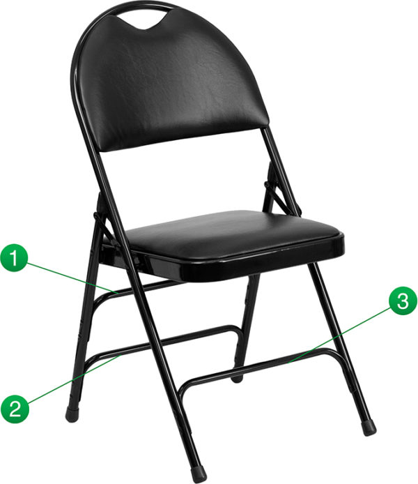 Wholesale HERCULES Series Ultra-Premium Triple Braced Black Vinyl Metal Folding Chair with Easy-Carry Handle