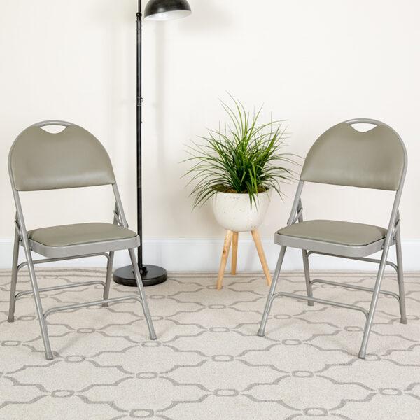 Lowest Price HERCULES Series Ultra-Premium Triple Braced Gray Vinyl Metal Folding Chair with Easy-Carry Handle