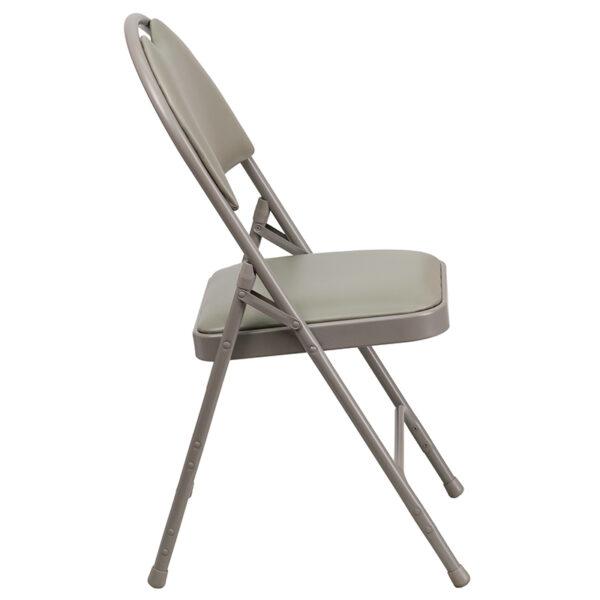 Padded Metal Folding Chair - Carrying Handle Cutout Gray Vinyl Folding Chair