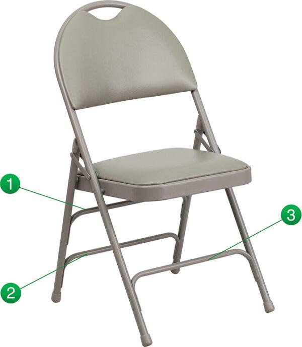 Wholesale HERCULES Series Ultra-Premium Triple Braced Gray Vinyl Metal Folding Chair with Easy-Carry Handle