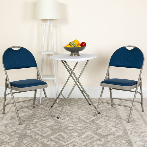 Lowest Price HERCULES Series Ultra-Premium Triple Braced Navy Fabric Metal Folding Chair with Easy-Carry Handle