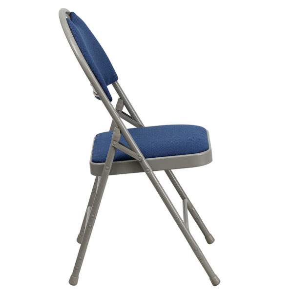 Padded Metal Folding Chair - Carrying Handle Cutout Navy Fabric Folding Chair