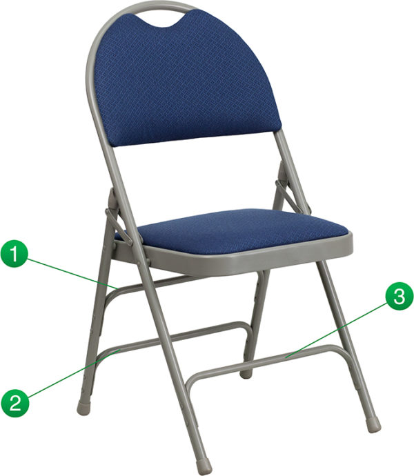 Wholesale HERCULES Series Ultra-Premium Triple Braced Navy Fabric Metal Folding Chair with Easy-Carry Handle