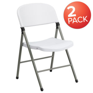 Wholesale HERCULES Series White Plastic Folding Chairs | Set of 2 Lightweight Folding Chairs with Gray Frame