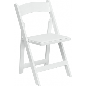 Wholesale HERCULES Series White Wood Folding Chair with Vinyl Padded Seat