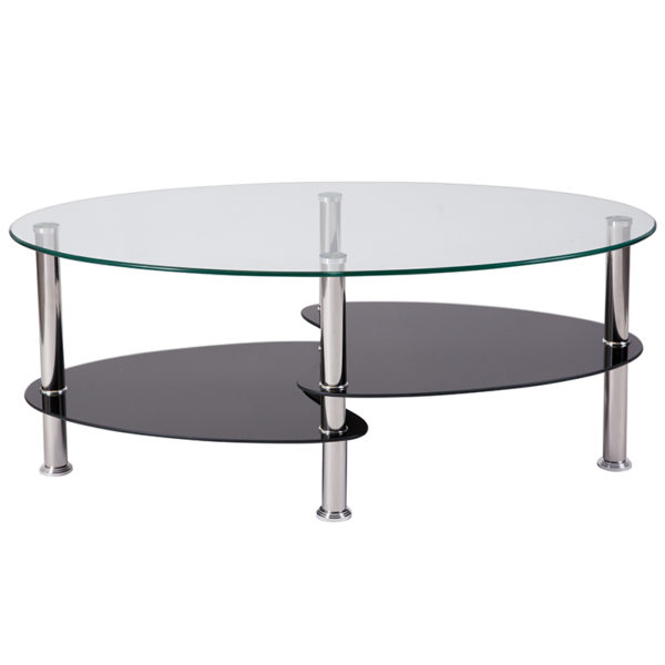 Lowest Price Hampden Glass Coffee Table with Black Glass Shelves and Stainless Steel Legs