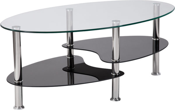 Wholesale Hampden Glass Coffee Table with Black Glass Shelves and Stainless Steel Legs