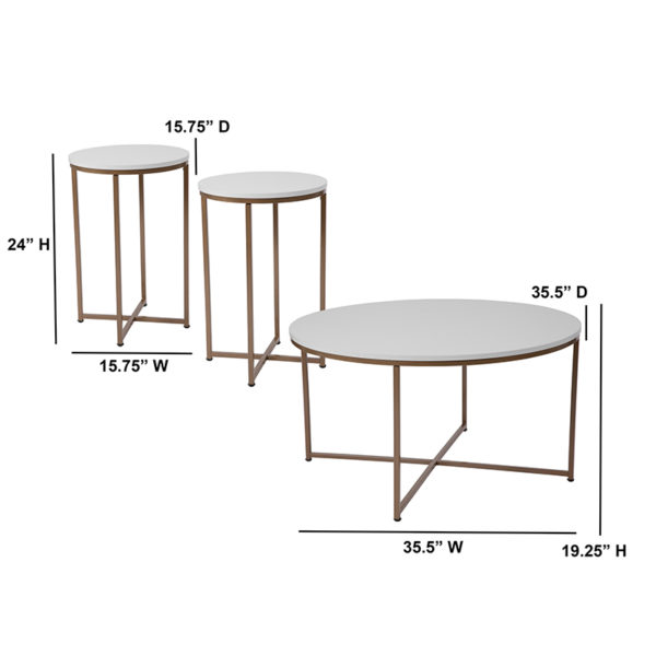 Lowest Price Hampstead Collection 3 Piece Coffee and End Table Set in White with Matte Gold Frames