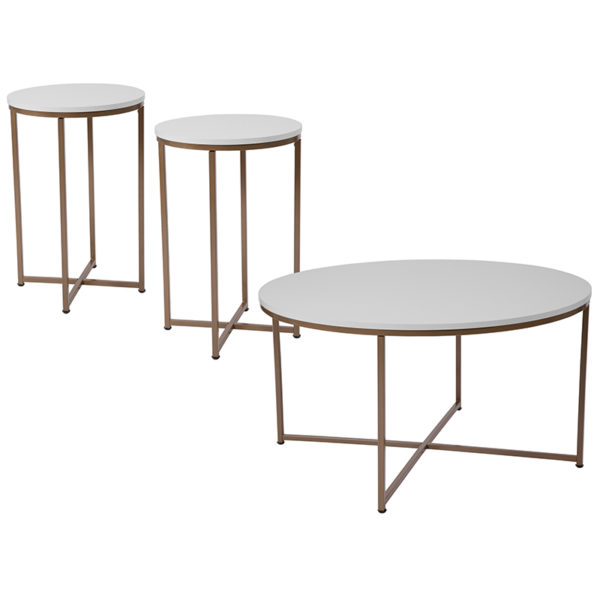 Wholesale Hampstead Collection 3 Piece Coffee and End Table Set in White with Matte Gold Frames