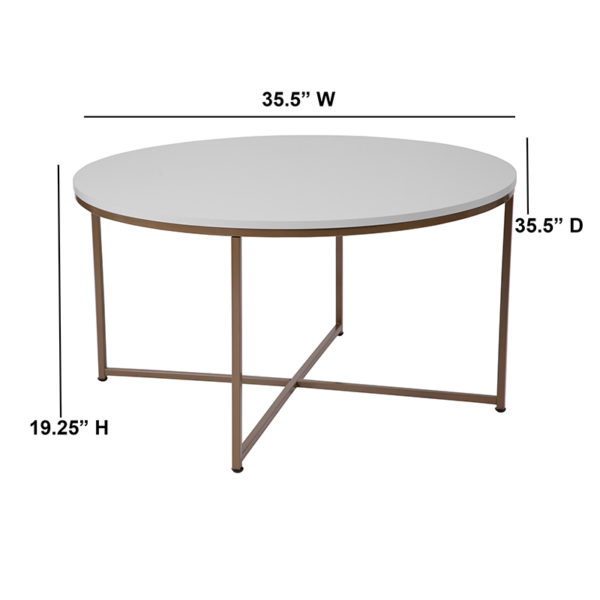Lowest Price Hampstead Collection White Coffee Table with Matte Gold Frame
