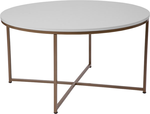 Wholesale Hampstead Collection White Coffee Table with Matte Gold Frame