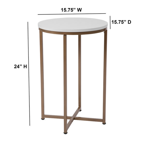 Lowest Price Hampstead Collection White End Table with Matte Gold Frame